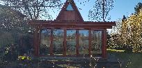 Szigetbecsei Dunapart télikert készítése fa harmonika szerkezet
